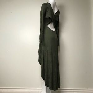 My forest green high low backless maxi dress
